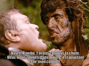 Exemple de trahison par les sous-titres, tiré d'Arthur Rambo VI : La revanche du dormeur du Val.